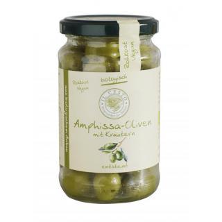 Grüne Amphissa-Oliven gekräutert o.St. 170g